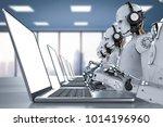 3d rendering humanoid robots... | Shutterstock . vector #1014196960