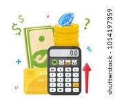 calculator with money  coins ...   Shutterstock .eps vector #1014197359