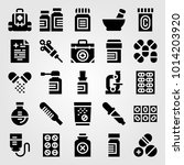 medical vector icon set. flask  ... | Shutterstock .eps vector #1014203920