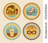 retro labels with summer icons  ... | Shutterstock .eps vector #101420464