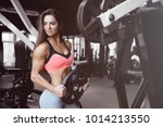 beautiful fitness sexy athletic ... | Shutterstock . vector #1014213550