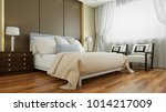 Stock photo classic double bed in hotel room with a vintage look d rendering 1014217009