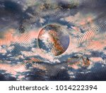 planets at sunset in outer... | Shutterstock . vector #1014222394
