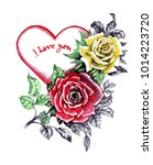 valentines day greeting card... | Shutterstock . vector #1014223720