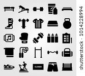 fitness vector icon set. gym... | Shutterstock .eps vector #1014228994