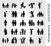 humans vector icon set. chield  ... | Shutterstock .eps vector #1014232150
