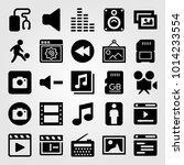 multimedia vector icon set.... | Shutterstock .eps vector #1014233554