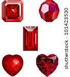 Collection of Ruby Crystal Vector Illustrations - Asscher Ruby, Faceted Ruby Bead, Emerald Cut Ruby and two Faceted Ruby Hearts