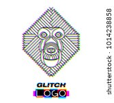 glitch effect monkey logo.... | Shutterstock .eps vector #1014238858