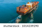 aerial view container cargo... | Shutterstock . vector #1014239290