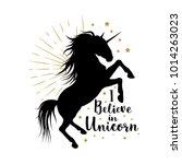 vector silhouette of unicorn... | Shutterstock .eps vector #1014263023