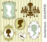 cute vintage frames with ladies ... | Shutterstock .eps vector #101429950