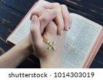 girl praying over the holy... | Shutterstock . vector #1014303019