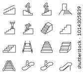 staircase icons set. linear... | Shutterstock .eps vector #1014305839