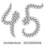 braids font. alphabet made from ... | Shutterstock .eps vector #1014306346