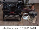 old retro journalist typewriter ... | Shutterstock . vector #1014312643