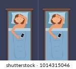 sleepless woman face cartoon...   Shutterstock .eps vector #1014315046