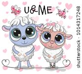 two cute cartoon sheep on a... | Shutterstock .eps vector #1014317248