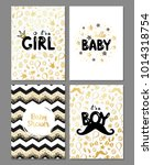vector set of baby shower cards.... | Shutterstock .eps vector #1014318754