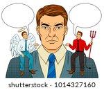 devil and angel on businessman... | Shutterstock . vector #1014327160
