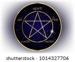 gold pentagram icon with five... | Shutterstock .eps vector #1014327706