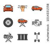 auto workshop color icons set.... | Shutterstock .eps vector #1014331558