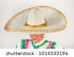 mexican cowgirl hat or sombrero ... | Shutterstock . vector #1014333196