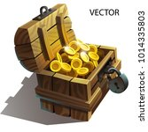 vector wooden chest with gold... | Shutterstock .eps vector #1014335803