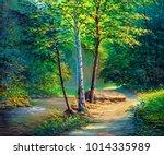 oil painting landscape  ... | Shutterstock . vector #1014335989