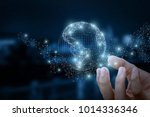 hand shows the global network... | Shutterstock . vector #1014336346