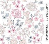 seamless floral pattern in folk ... | Shutterstock .eps vector #1014336844