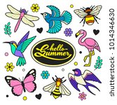 hello summer patches collection.... | Shutterstock .eps vector #1014346630