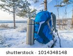 blue backpack and thermos... | Shutterstock . vector #1014348148