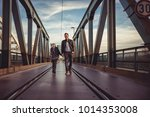 father and daughter wearing... | Shutterstock . vector #1014353008