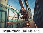 father and daughter wearing... | Shutterstock . vector #1014353014