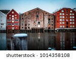 trondheim storehouses on the... | Shutterstock . vector #1014358108