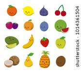 fruits with funny faces. vector ... | Shutterstock .eps vector #1014361504