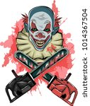 horror art with scary clown... | Shutterstock .eps vector #1014367504