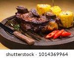 restaurant dish. fried ribs of... | Shutterstock . vector #1014369964