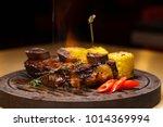 restaurant dish. fried ribs of... | Shutterstock . vector #1014369994