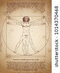 da vinci's vitruvian man.... | Shutterstock .eps vector #1014370468