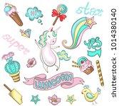 stickers with unicorn  bird ... | Shutterstock .eps vector #1014380140