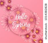 hello spring text  floral... | Shutterstock .eps vector #1014382828