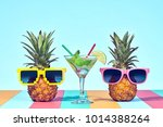 two hipster fruits in trendy... | Shutterstock . vector #1014388264