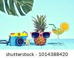 hipster pineapple in trendy... | Shutterstock . vector #1014388420
