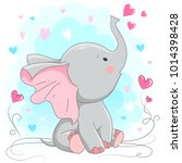 cute elephant  vector... | Shutterstock .eps vector #1014398428