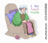 grandma with knitting  drawing... | Shutterstock .eps vector #1014400888