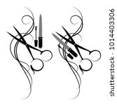 scissors and hair for beauty... | Shutterstock .eps vector #1014403306