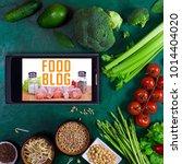 food blog concept. big set of... | Shutterstock . vector #1014404020