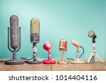 retro old microphones for press ... | Shutterstock . vector #1014404116